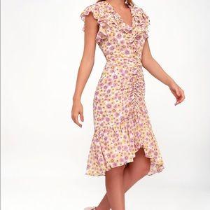 W A Y F Daphne pink/yellow floral ruffle dress SM